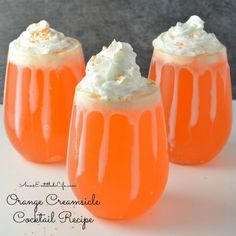 Orange Creamsicle Cocktail Recipe. 3 oz Orange Soda Pop • 1 oz Whipped Cream Flavored Vodka • 1 TBSP Sweetened Condensed Milk • Whipped Cream • Sprinkles Add ice to a low-ball style cocktail glass. • Add orange soda pop, whipped cream flavored vodka, and sweetened condensed milk; stir gently. Do not over-stir or you will lose the carbonated bubbles • Top with whipped cream. • Garnish with sprinkles.