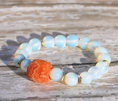 Opal with Sponge Coral Beaded Bracelet / Handmade by BeadRustic, $35.00