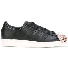 Adidas Originals 'Superstar 80's' sneakers ($149) ❤ liked on Polyvore featuring shoes, sneakers, black, 80s sneakers, adidas shoes, metallic shoes, metallic sneakers and black trainers