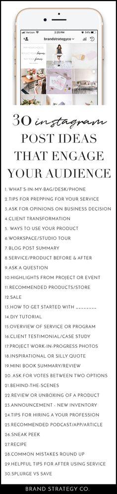 30 Engaging Instagram Post Ideas   Instagram Marketing Strategy   Instagram Marketing for Business   Tips for Instagram Marketing   Marketing Ideas for Instagram Posts Instagram Tips And Tricks, Instagram Marketing Tips, Instagram Advertising, Social Media Tips, Social Media Marketing, Digital Marketing, Marketing Ideas, Content Marketing, Marketing Strategies