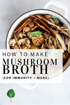 Medicinal mushrooms like reishi, shiitake and chaga, can also act as powerful allies to help support you during times of stress or when your immune system needs a little extra assistance. This savory, deeply flavorful Medicinal Mushroom Broth with the added boost of garlic, onions and fresh sage.   #holisticnutrition #bonebroth #medicinalmushrooms