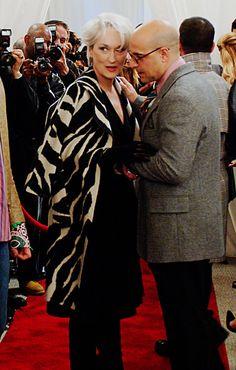 Meryl Streep as Miranda Priestly & Stanley Tucci as Nigel (The Devil Wears Prada) Katharine Hepburn, Meryl Streep, Brigitte Lacombe, Miranda Priestly, Girls Without, Devil Wears Prada, Advanced Style, Best Actress, Star Wars