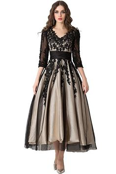 Sunvary Affordable Prom Ball Dress V-neck Sleeves Tea-Length Applique Size 12- Black and Champagne