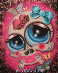 Day of the dead art painting big eye art sugar skull tattoo butterfly mom lowbrow. Sold.
