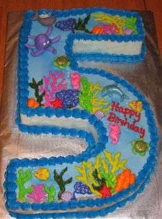 Image detail for -9x13 sheet cake cut into the number five decorated with a ocean theme ...