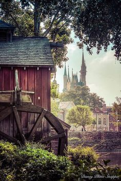A great view of Cinderella's castle from Tom Sawyer island overlooking Liberty Square in the Magic Kingdom at Walt Disney World