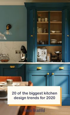 Whether you're overhauling your current kitchen design or refreshing a tired kitchen cabinet colour scheme, every effective kitchen combines many elements such as layout, cabinets, worktops, appliances etc. 2020 is the year of the 'living kitchen' where function, aesthetic and technology combine to make day-to-day life easier and unify the rest of the home. (Photo: LochAnna Kitchens) #kitchenideas #kitchendecor #kitchenremodel #kitchencabinets #kitcheninterior #blue #interiors