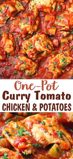 One-pot chicken recipes cant be beat for weeknight meals. This one-pot curry tomato chicken with potatoes is filled with light but satisfying flavors. 269 calories and 8 Weight Watchers SP Easy Healthy Dinners, Easy Healthy Recipes, Easy Dinner Recipes, Top Recipes, Healthy Eats, Best Chicken Recipes, Potato Recipes, Clean Eating Recipes, Cooking Recipes