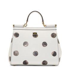 Dolce And Gabbana White Leather Polka Dot Miss Sicily Medium Bag Studded Handbags, White Leather Handbags, Studded Purse, Purses And Handbags, Leather Purses, Coach Handbags, Polka Dot Purses, White Purses, Polka Dots