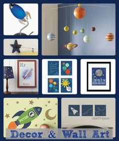Art and decor for space themed bedroom