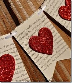 Book pages, string, heart punch, craft paper, glue.