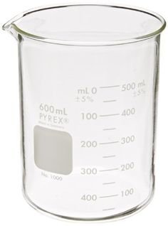 Corning Pyrex 1000-600 Glass 600mL Graduated Low Form Griffin Beaker, 50mL Graduation Interval, with Double Scale Slime Experiment, Egg Experiments, Floating Eggs, Ant Spray, Science Demonstrations, Cute Office Supplies, Cell Membrane, Distilled White Vinegar, Liquid Measuring Cup