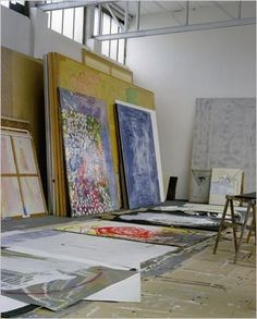 Sigmar Polke's studio in Cologne, Germany. A 2007 NY Times article states that he was 'known to go for months without answering his phone, opening his mail or allowing visitors into his studio'.