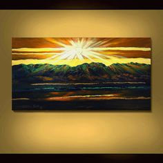 ORIGINAL ABSTRACT Painting Green Mountain Sunset Landscape Large 24X48 Textured Impasto By Thomas John