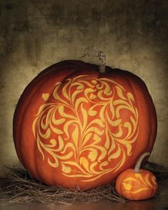 Pumpkin - Instead of cutting all the way through, just carve the surface with a linoleum cutting tool! How sweet.