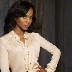 Ivory silk blouse and LONG necklace. Olivia Pope Scandal