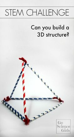 STEM Challenge. Can you build a 3D structure with just straws and pipe cleaners? Fun hands-on activity that explores science, engineering and math for young kids.