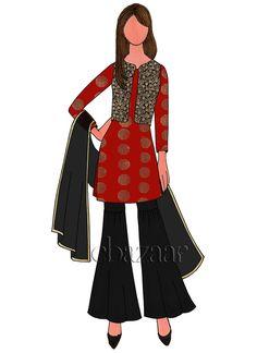 Red Art Silk Sharara Suit