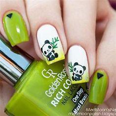 1SHEET Cute Panda Green Bamboo Nail ART Water Decal Transfer Manicure Decoration   eBay