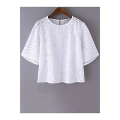 White Mesh Round Neck Short Sleeve T-Shirt ($21) ❤ liked on Polyvore featuring tops, t-shirts, white t shirt, white mesh t shirt, white top, round neck t shirt and short sleeve tops