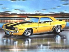 1969 Chevy Camaro RS Z28 Coupe Muscle Car Art Print Yellow 11x14 Parry Johnson Art - http://www.amazon.com/gp/product/B00EZV2M6A/ref=as_li_tl?ie=UTF8&camp=1789&creative=390957&creativeASIN=B00EZV2M6A&linkCode=as2&tag=bonafsucce-20&linkId=Q5QPU6CU3EUOB3OI