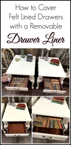 A spin on decoupage with these Queen Anne style painted end tables with lined drawers using wallpaper, mod podge and poster board for a removable drawer liner. Painted Furniture For Sale, Refurbished Furniture, Cool Furniture, Paint Furniture, Office Furniture, Furniture Design, Diy Furniture Projects, Repurposed Furniture, Furniture Makeover