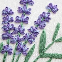 Lavender With Pattern-Hand embroidery Floral Herb kitStitch