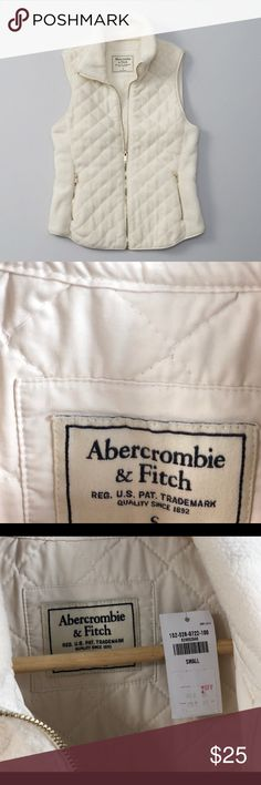 Abercrombie and Fitch - White Fleece Quilted Vest It is totally new. I bought it but I didn't have any chance to wear. My size has increased after giving birth. Abercrombie & Fitch Jackets & Coats Vests