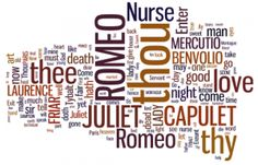 Romeo and Juliet Wordle! @Melody Etheredge and @Melissa Brown...Use a cricut and you have a new bulletin board or wall decor ... thought of ya'll when I saw this.