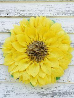 Yellow Burlap Sunflower Wreath by ValsShabbyShack on Etsy