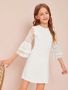 Girls Lace Bell Sleeve Dress - Girls Lace Bell Sleeve Dress Source by - Girls Dresses Online, Kids Outfits Girls, Cute Girl Outfits, Little Girl Dresses, Flower Girl Dresses, Girls Fashion Clothes, Tween Fashion, Fashion Dresses, Bell Sleeve Dress