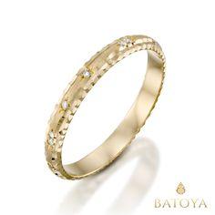 Gold diamonds wedding ring, Handmade ring, Raw ring, Hammered wedding ring, Simple wedding ring, Handcrafted ring, Dainty gold ring, 14k by BATOYA on Etsy