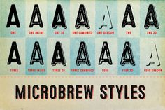 Microbrew is a versatile retro display family with 14 individual styles, plus retro banners, ornaments, and symbols.