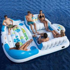Inflatable Party Raft 6 Person Blow Up Float Pontoon Boat Tube Pool Lounge Ski #FloatingPartyRaft