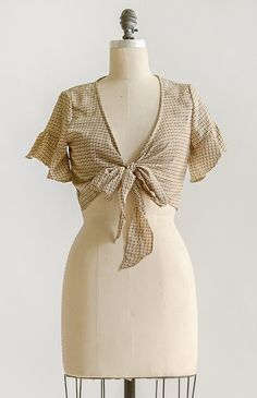 df68456123b5da Feminine Vintage Inspired Clothing / Cropped Tie Front Top / Perigeux Top –  Adored Vintage Vintage