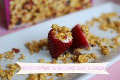 Snack idea: Strawberries stuffed with Greek Yogurt & Granola - use large strawberries