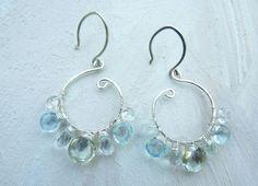 green amethyst blue topaz and aquamarine earrings in by Leoben, $65.00