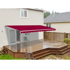 Aleko Burgundy (Red) Retractable Outdoor Patio Awning Deck Sunshade, Size 10 x 12 (Synthetic Fiber) Gazebo Pergola, Patio Canopy, Wooden Pergola, Covered Pergola, Pergola Shade, Pergola Plans, Pergola Kits, Patio Roof, Pergola Ideas