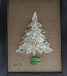 Déco de Noël en verre de mer Sapin de Noël Décoration de
