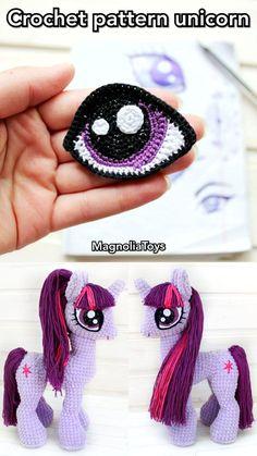 Crochet pattern unicorn, my little pony Crochet Pony, Crochet Unicorn Pattern, Crochet Horse, Crochet Eyes, Crochet Baby Hats, Crochet Patterns Amigurumi, Crochet Beanie, Crochet Motif, Diy Crochet