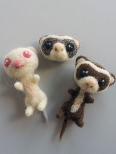 Needle felted ferrets by MissTaku.deviantart.com on @deviantART