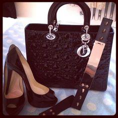 Black OP Art Design bag, black & silver wrap belt & black suede pumps by Coach