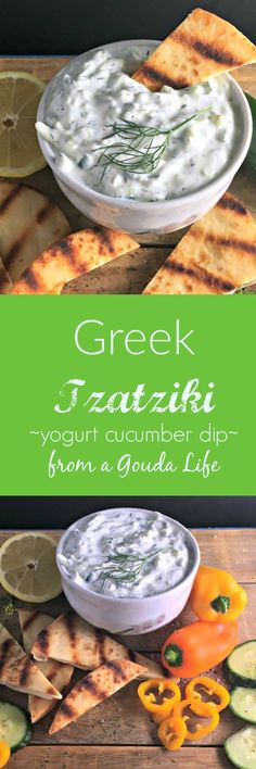 Easy, authentic Greek Tzatziki ~ delicious with vegetables as a dip or with grilled chicken. #tzatziki