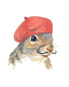 Squirrel Painting Original Watercolour - French Beret, Mustache, Animal Art, 8x10. $40.00, via Etsy.