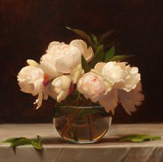 """jacob collins   Jacob Collins, """"Peonies,"""" 2003, oil on canvas, 17 x 17 in. Collection ..."""