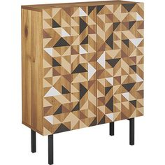 Storage Furniture - Tonal geometric forms pattern a multifaceted design by designer Ceci Thompson. An art piece in itself, this graphic cabinet displays objects of interest, entertains as a mini bar or conceals clutter in the entry. Crafted of acacia veneer over engineered wood, painted patterned doors are channeled with discreet grooves that open to reveal three shelves: one removable and two fixed. Stands sleek on black powdercoated iron legs.