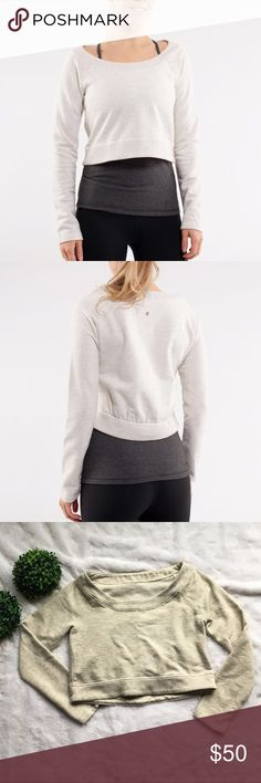 """Lululemon Tan Good Karma Pullover Lululemon tan good karma pullover in excellent preloved condition. No stains, holes, or imperfections of any kind. This is a cropped sweatshirt. The inside size tag has been removed and there is no hidden size dot on this style. Size 8, 17.5"""" long in the front, 19"""" long in the back, 40"""" chest, and 19.5"""" from armpit to cuff. I'm only looking to sell at this time so sorry but no trades. My listing price is firm. lululemon athletica Tops Sweatshirts & Hoodies"""