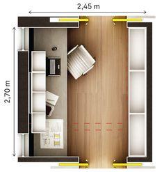 Alinhadas, portas de correr economizam espaço e criam um corredor de circulação.