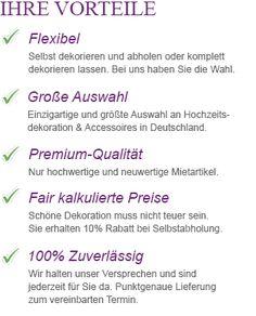 Vorteile Dekorationsservice Hochzeitsdeko-Verleih