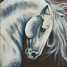 """""""Majestic Stallion"""" Social Artworking Canvas Painting Design --  Capture the strength and beauty of horses with this gracefully arched neck design. This painting is sophisticated enough for display in your dining or living room. CANVAS SIZE:  12"""" x 12"""" TIME TO PAINT:  approximately 2 hours TECHNIQUES INCLUDE: shading for contour, hair & mane"""
